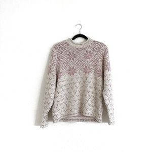 St. John's Bay Vintage Sweater Pink/Cream Size M